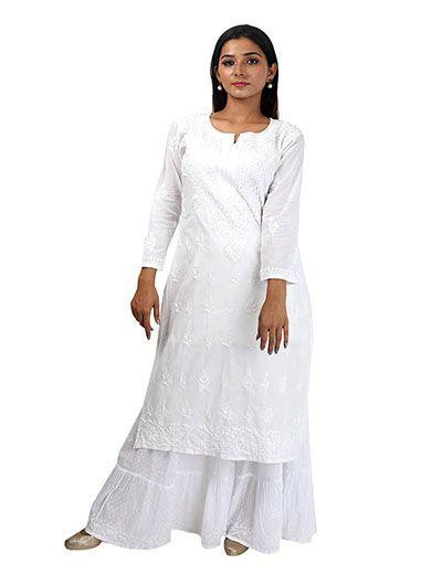 Rohia by Chhangamal Women's Hand Embroidered White Cotton Chikan Kurti
