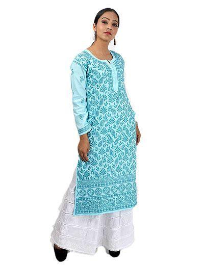 Rohia by Chhangamal Women's Hand Embroidered Rayon Blue Chikan Kurti