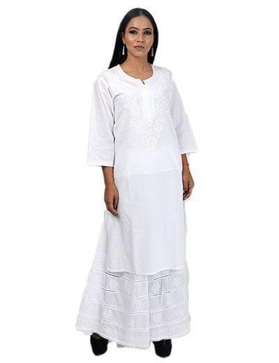 Rohia by Chhangamal Frauen Hand bestickter weißer Baumwolle Chikan Kurti