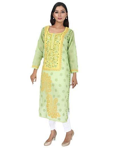 Rohia by Chhangamal Women's Hand Embroidered Mehendi Green Cotton Chikan Kurti