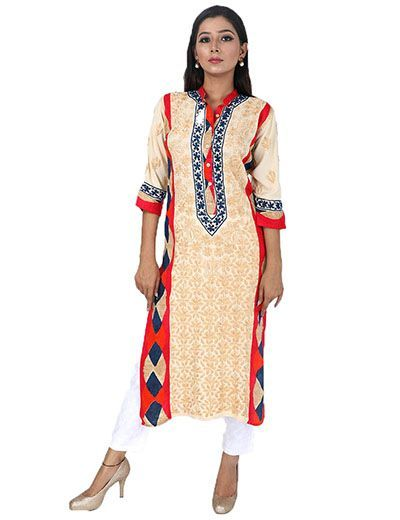 Rohia by Chhangamal Women's Hand Embroidered Multi Colour Rayon Chikan Kurti