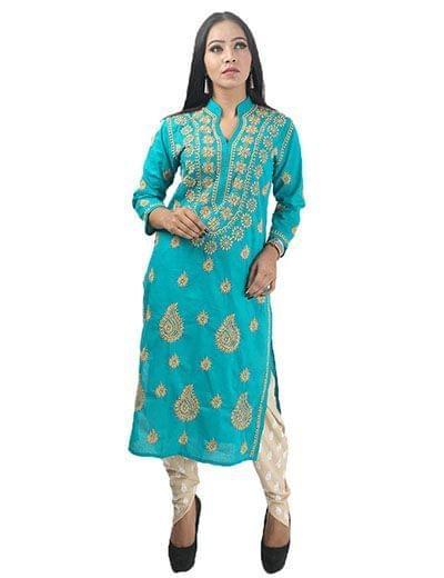 Rohia by Chhangamal Damen Handbestickte hellblaue Baumwolle Chikan Kurti