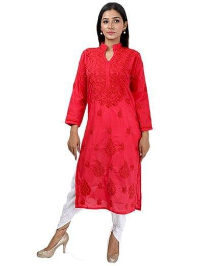 Rohia by Chhangamal Women's Hand Embroidered Red Cotton Chikan Kurti