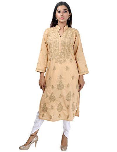 Rohia by Chhangamal Frauen Hand bestickt brauner Baumwolle Chikan Kurti