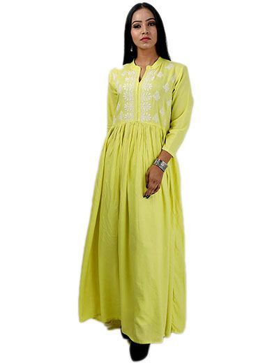 Rohia by Chhangamal Women's Hand Embroidered Yellow Cotton Chikan Kurti