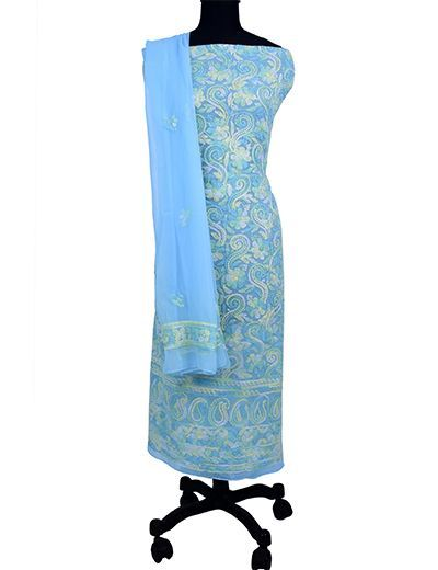 Rohia by Chhangamal Hand Embroidered Unstiched Georgette Multi Light Blue Chikan Suit Length(Kurta 2.5 M, Bottom 2 M, Dupatta 2.15 M)
