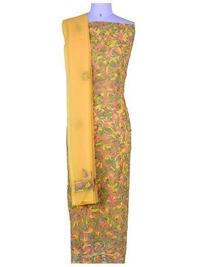 Rohia by Chhangamal Front Jaal Multi Color Georgette Chikan Suit Length(Kurta 2.5 M, Bottom 2 M, Dupatta 2.15 M)