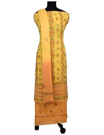 Rohia by Chhangamal Handgestickter, multi gelber Chikan-Anzug aus Baumwolle (Kurta 2,5 M, Unterseite 2 M, Dupatta 2,15 M)
