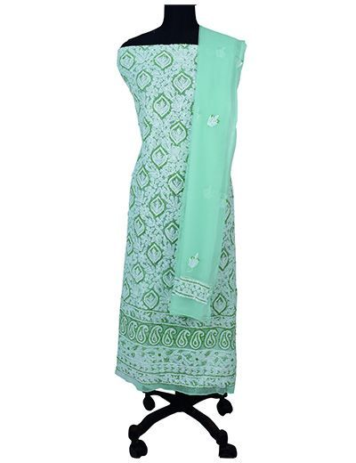 Rohia by Chhangamal Hand Embroidered Unstitched Georgette Light Green Chikan Suit Length(Kurta 2.5 M, Bottom 2 M, Dupatta 2.15 M)
