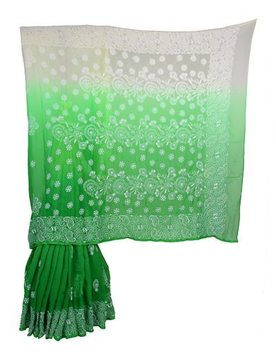Rohia by Chhangamal Hand Embroidered Green Faux Georgette Shaded Chikan Saree.