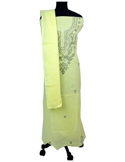 Rohia by Chhangamal Hand Embroidered Lemon Green Cotton Unstiched Chikan Suit Length(Kurta 2.5 M, Bottom 2 M, Dupatta 2.15 M)