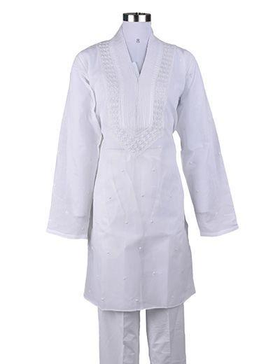 Rohia by Chhangamal Men's Embroidered White ,Keel Booty,Fancy Gala Chikan Kurta