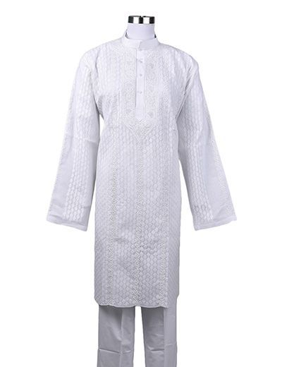 Rohia by Chhangamal Men's Embroidered White ,Front Jaal ,Collardar Fancy Chikan Kurta