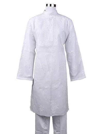 Rohia by Chhangamal Men's Embroidered Front Jaal ,Collar,Kaj Pattidar Chikan Kurta