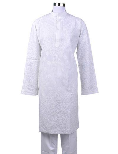 Rohia by Chhangamal Men's Embroidered White Cross Bel Kajpatti,   Chikan Kurta
