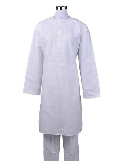 Rohia by Chhangamal Men's Embroidered White Cross Bel Kajpatti  Chikan Kurta