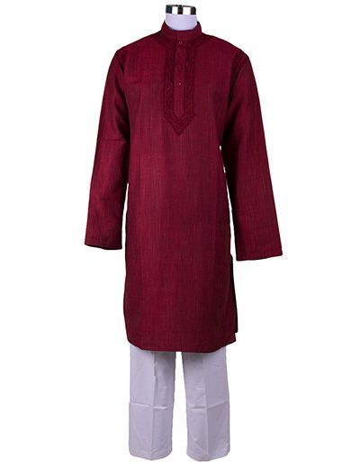 Rohia by Chhangamal Men's Embroidered Red-Wine Color Cross Bel ,Chikan Kurta