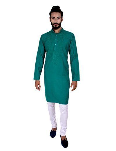Rohia von Chhangamal Herren Sea Green Traditionelles Kashmiri Gala Chikan Kurta