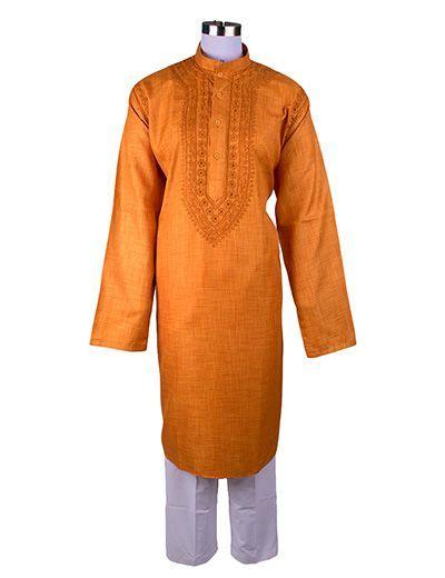 Rohia by Chhangamal Men's Orange Traditional Handicraft Crossbel Chikan Kurta
