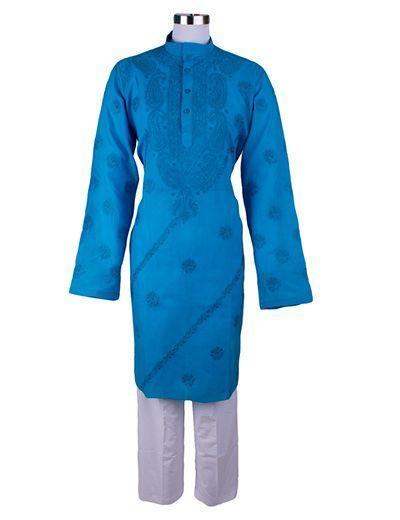 Rohia by Chhangamal Herren Blue Designer Handmade Kashmiri Gala Chadidar Chikan Kurta