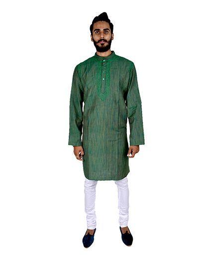 Rohia by Chhangamal Men's Green Handcrafted Ethnic Lucknow Cross Bel Kurta