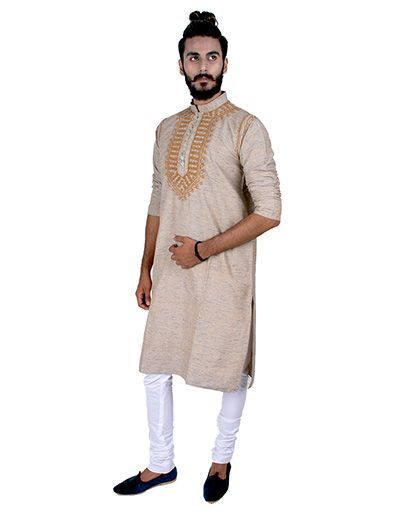 Rohia by Chhangamal Mens Brown Traditional Chikan