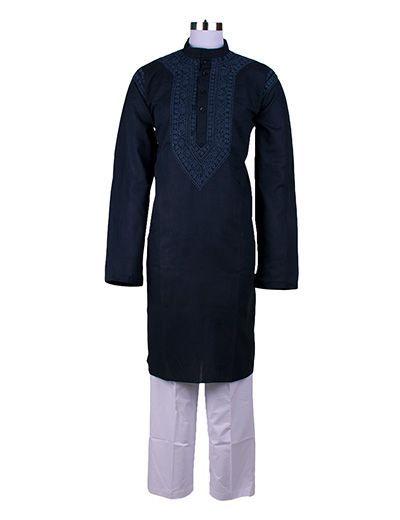 Rohia by Chhangamal Men's Blue Handmade Lucknow Chikan Cross Bel Kurta
