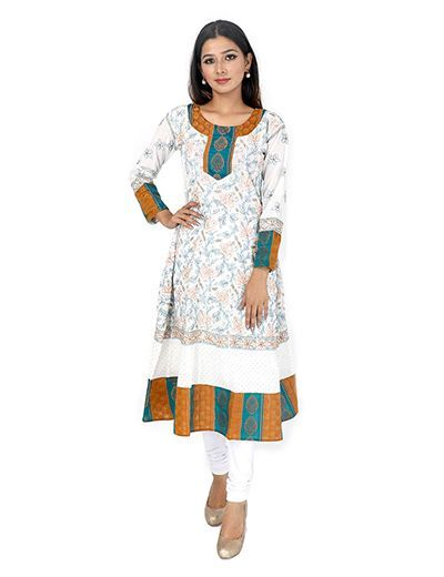Rohia by Chhangamal Women's Hand Embroidered Anarkali Pattern Cream Chikan Kurti