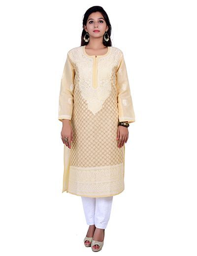 Rohia by Chhangamal Hand Embroidered Kashmiri Gala Kurti With Front Jaal