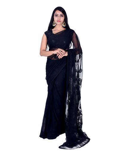 Rohia by Chhangamal Hand Embroidered Black Faux Georgette Chikan Saree.