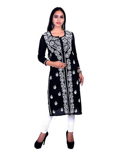 Rohia by Chhangamal Hand Embroidered Black Cotton Chikan Kurti