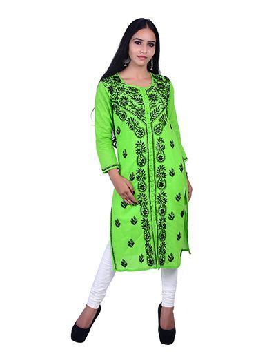Rohia by Chhangamal Hand Embroidered Green Cotton Sherwani Style Chikan Kurti