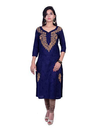 Rohia by Chhangamal Hand Embroidered Blue Cotton Kashmiri Gala Chikan Kurti