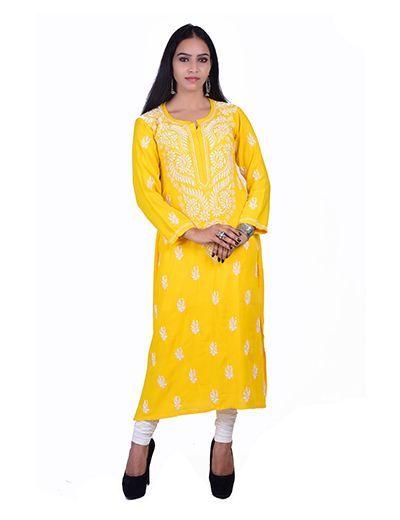 Rohia von Chhangamal Handgestickter gelber Ryon Kashmiri Gala Chikan Kurti