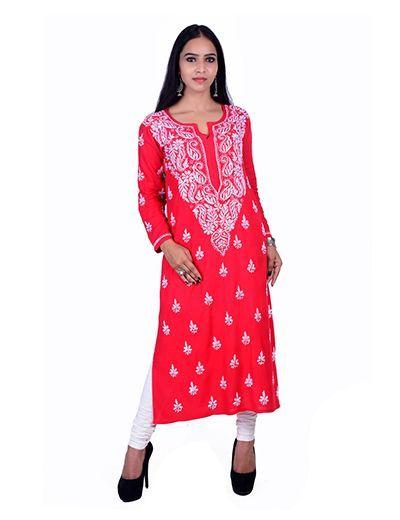 Rohia von Chhangamal Handgestickter Ryon Red Chikan Kurti