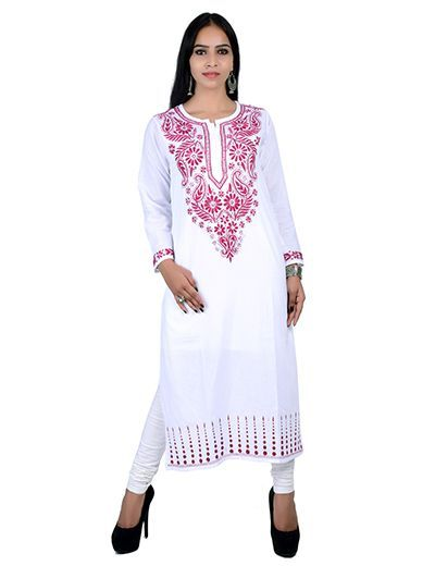 Rohia by Chhangamal Hand Embroidered Kashmiri Gala White Chikan Kurti