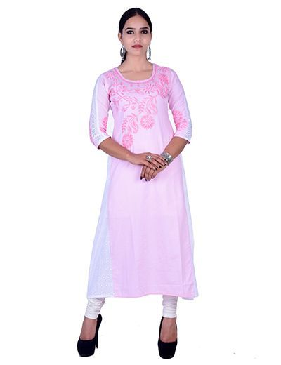 Rohia von Chhangamal Handgesticktes Rosa Baumwolle Kashmiri Gala Chikan Kurti