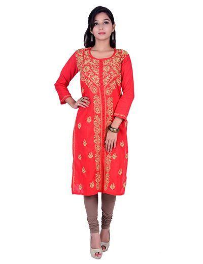 Rohia von Chhangamal Handgestickter Sherwani Style Front Open Chikan Kurti