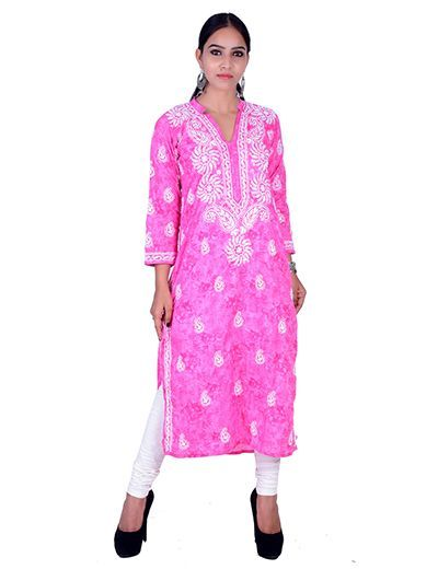 Rohia by Chhangamal Hand Embroidered Pink Cotton Kashmiri Gala Chikan Kurti