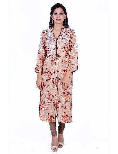Rohia by Chhangamal Hand Embroidered Cotton Kashmiri Gala Kurti with Front open style