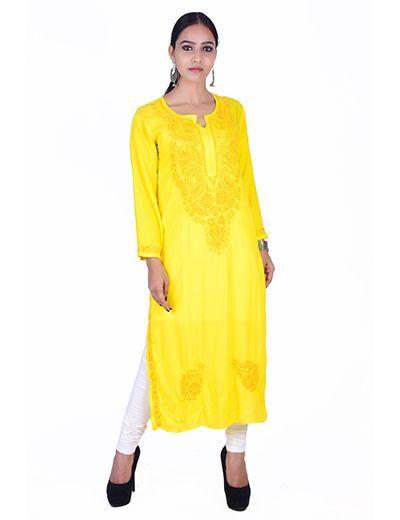 Rohia by Chhangamal Hand Embroidered Ryon Yellow Kashmiri Gala Kurti
