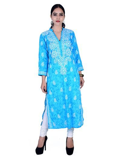 Rohia by Chhangamal Hand Embroidered Blue Cotton Kashmiri Gala Chikan Kurti