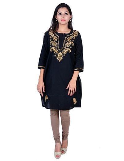 Rohia von Chhangamal Handgestickte Kashmiri Gala Black Cotten Chikan Kurti