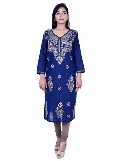 Rohia by Chhangamal Hand Embroidered Blue Cotton Chikan Kurti