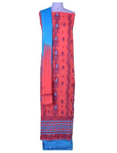 Rohia by Chhangamal Hand Embroidered Peach Cotton Chikan Suit Length(Kurta 2.5 M, Bottom 2 M, Dupatta 2.15 M)