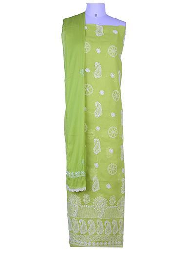 Rohia by Chhangamal Hand Embroidered Unstiched Green Cotton Chikan Suit Length(Kurta 2.5 M, Bottom 2 M, Dupatta 2.15 M)