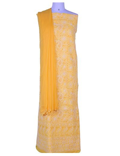 Rohia by Chhangamal Hand Embroidered Chikan Cotton Yellow Unstiched Suit Length(Kurta 2.5 M, Bottom 2 M, Dupatta 2.15 M)