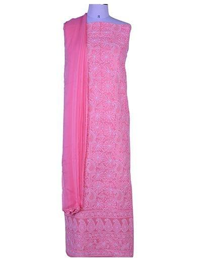 Rohia by Chhangamal Hand Embroidered Cotton Pink Unstiched Chikan Suit Length(Kurta 2.5 M, Bottom 2 M, Dupatta 2.15 M)