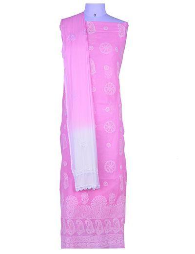 Rohia by Chhangamal Hand Embroidered Pink Cotton Chikan Suit Length(Kurta 2.5 M, Bottom 2 M, Dupatta 2.15 M)