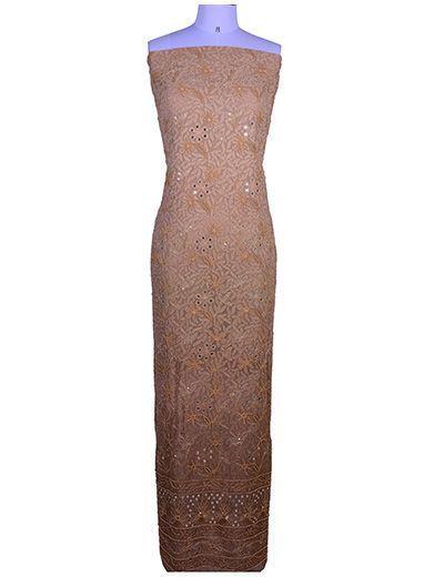 Rohia by Chhangamal Hand Embroidered Brown Viscose Chikan Kurta Length(Kurta 2.5 M, Bottom 2 M, Dupatta 2.15 M)